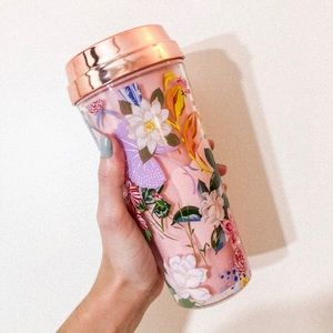 Band.do floral print to go coffee thermos